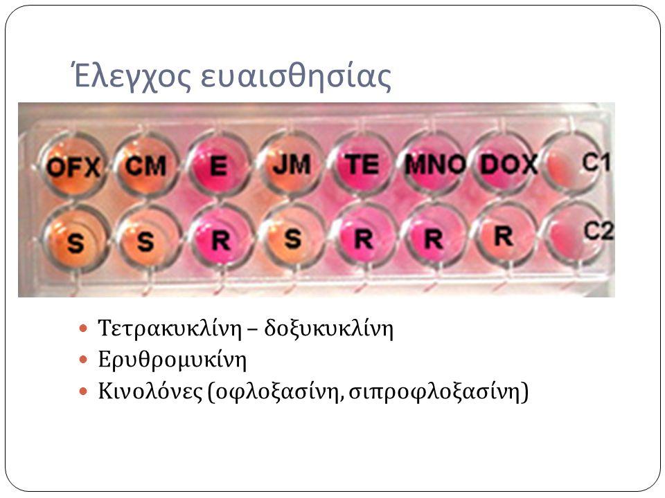 Έλεγχος ευαισθησίας Τετρακυκλίνη – δοξυκυκλίνη Ερυθρομυκίνη