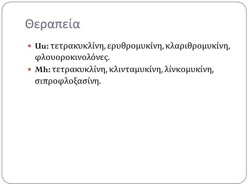 Θεραπεία Uu: τετρακυκλίνη, ερυθρομυκίνη, κλαριθρομυκίνη, φλουοροκινολόνες.