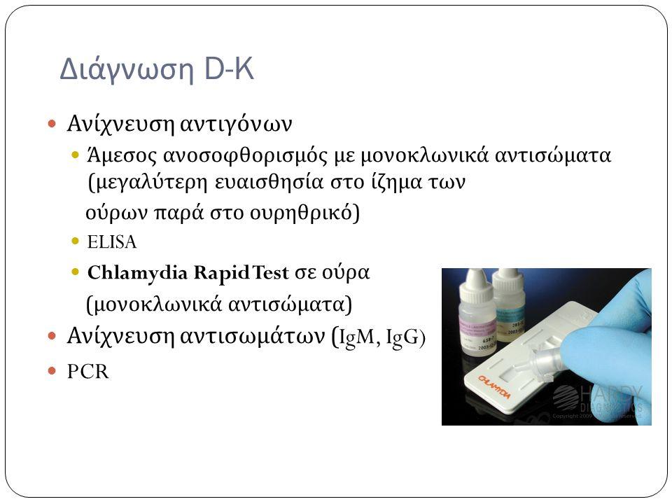 Διάγνωση D-K Ανίχνευση αντιγόνων Ανίχνευση αντισωμάτων (IgM, IgG) PCR