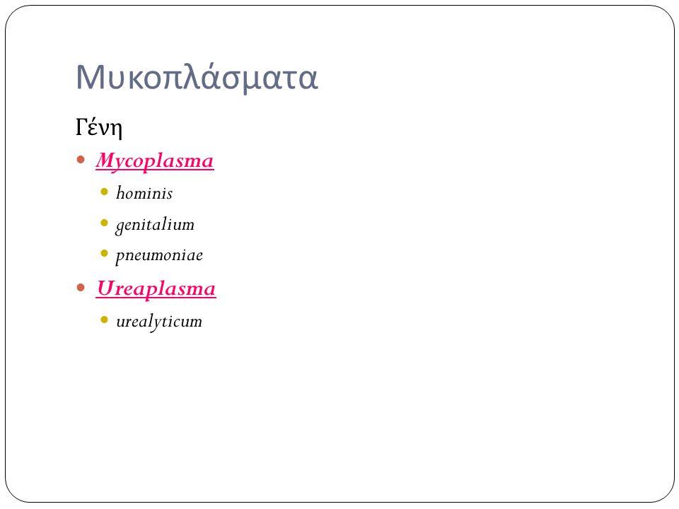 Μυκοπλάσματα Γένη Mycoplasma Ureaplasma hominis genitalium pneumoniae