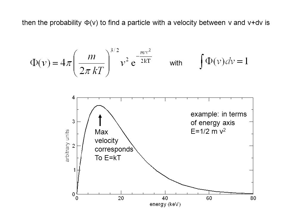 then the probability F(v) to find a particle with a velocity between v and v+dv is