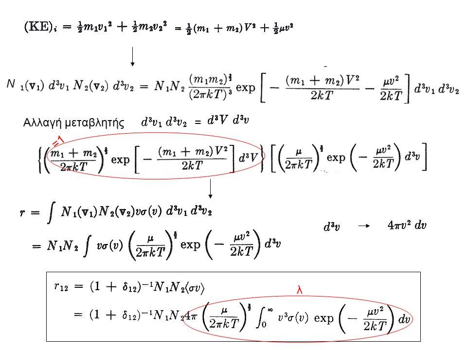 Ν Αλλαγή μεταβλητής = =1 λ