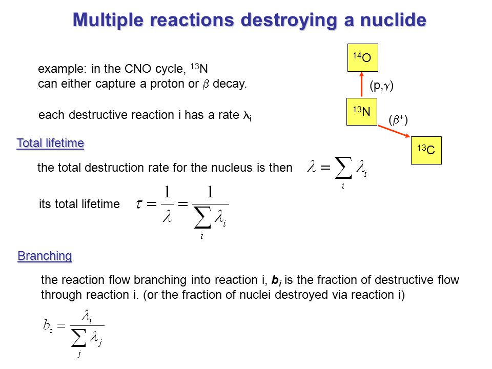 Multiple reactions destroying a nuclide