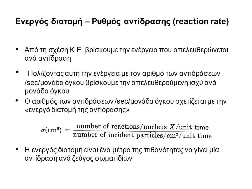 Ενεργός διατομή – Ρυθμός αντίδρασης (reaction rate)