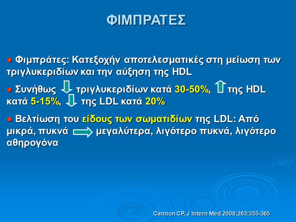 ΦΙΜΠΡΑΤΕΣ ● Φιμπράτες: Κατεξοχήν αποτελεσματικές στη μείωση των τριγλυκεριδίων και την αύξηση της HDL.