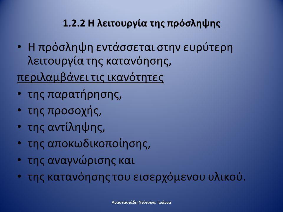 1.2.2 Η λειτουργία της πρόσληψης