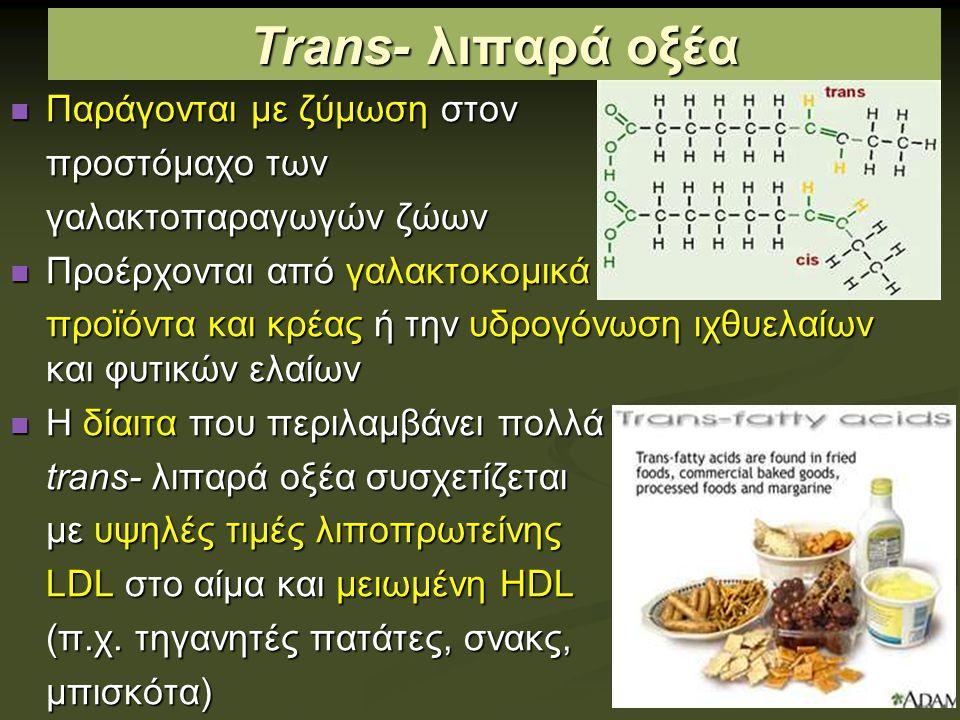 Trans- λιπαρά οξέα Παράγονται με ζύμωση στον προστόμαχο των