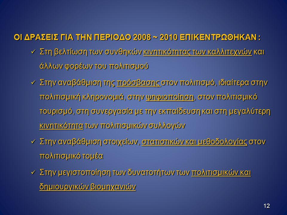 ΟΙ ΔΡΑΣΕΙΣ ΓΙΑ ΤΗΝ ΠΕΡΙΟΔΟ 2008 ~ 2010 ΕΠΙΚΕΝΤΡΩΘΗΚΑΝ :
