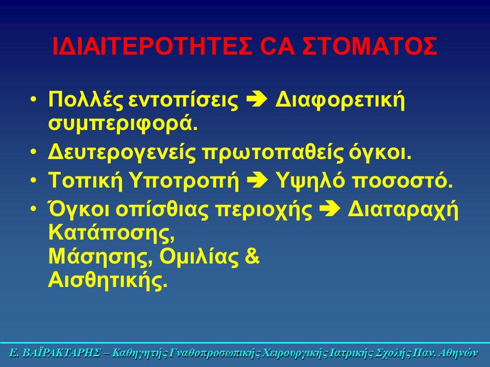 ΙΔΙΑΙΤΕΡΟΤΗΤΕΣ CA ΣΤΟΜΑΤΟΣ