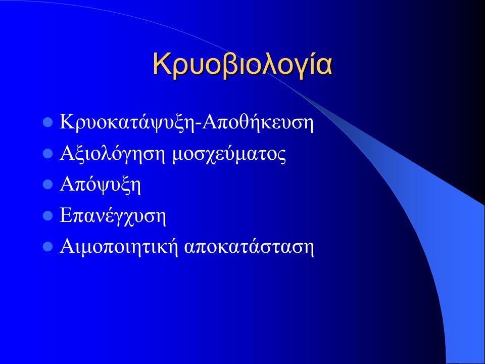 Κρυοβιολογία Κρυοκατάψυξη-Αποθήκευση Αξιολόγηση μοσχεύματος Απόψυξη