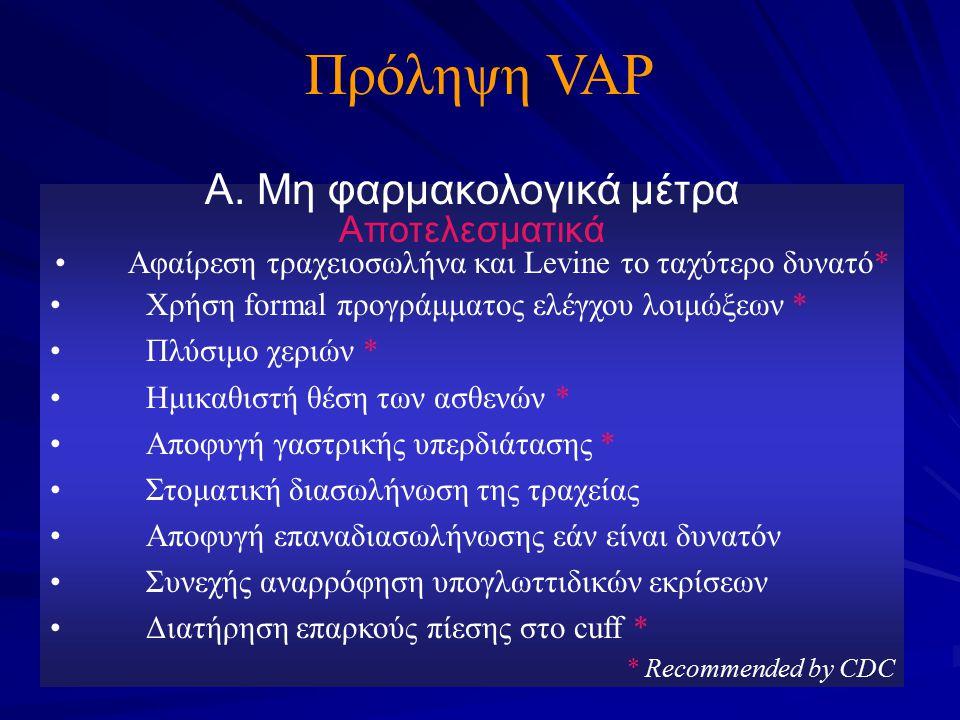Πρόληψη VAP Α. Μη φαρμακολογικά μέτρα Αποτελεσματικά