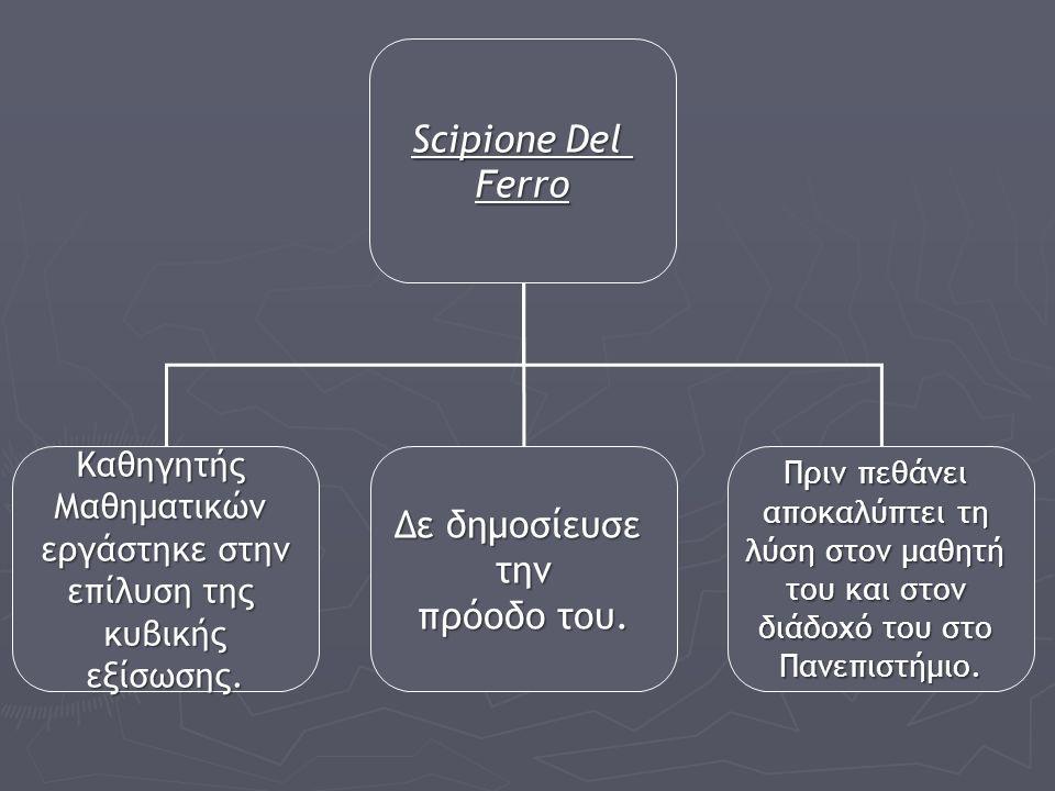 Scipione Del Ferro Δε δημοσίευσε την πρόοδο του. Καθηγητής Μαθηματικών