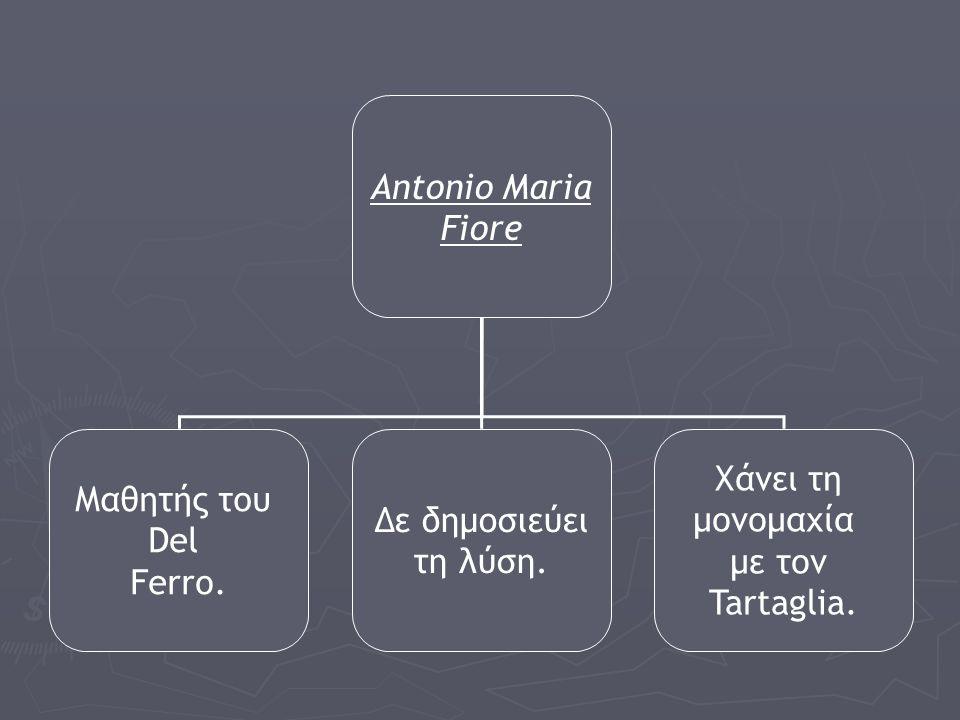 Antonio Maria Fiore. Μαθητής του. Del. Ferro. Δε δημοσιεύει. τη λύση. Χάνει τη. μονομαχία. με τον.