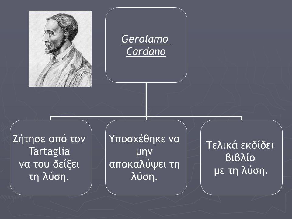 Gerolamo Cardano. Ζήτησε από τον. Tartaglia. να του δείξει. τη λύση. Υποσχέθηκε να. μην. αποκαλύψει τη.