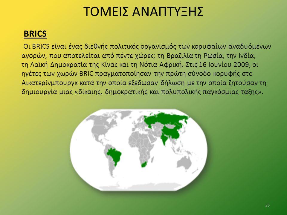 ΤΟΜΕΙΣ ΑΝΑΠΤΥΞΗΣ BRICS