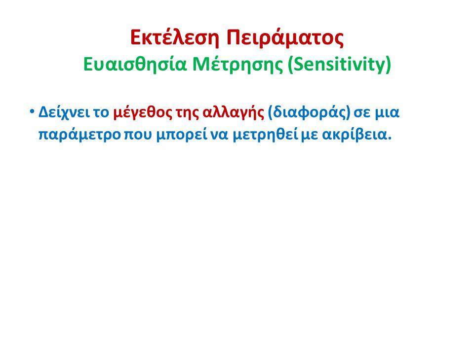 Εκτέλεση Πειράματος Ευαισθησία Μέτρησης (Sensitivity)