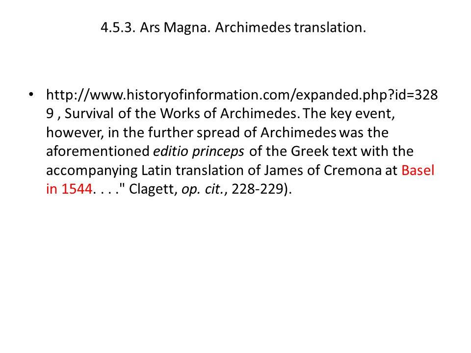 4.5.3. Ars Magna. Archimedes translation.