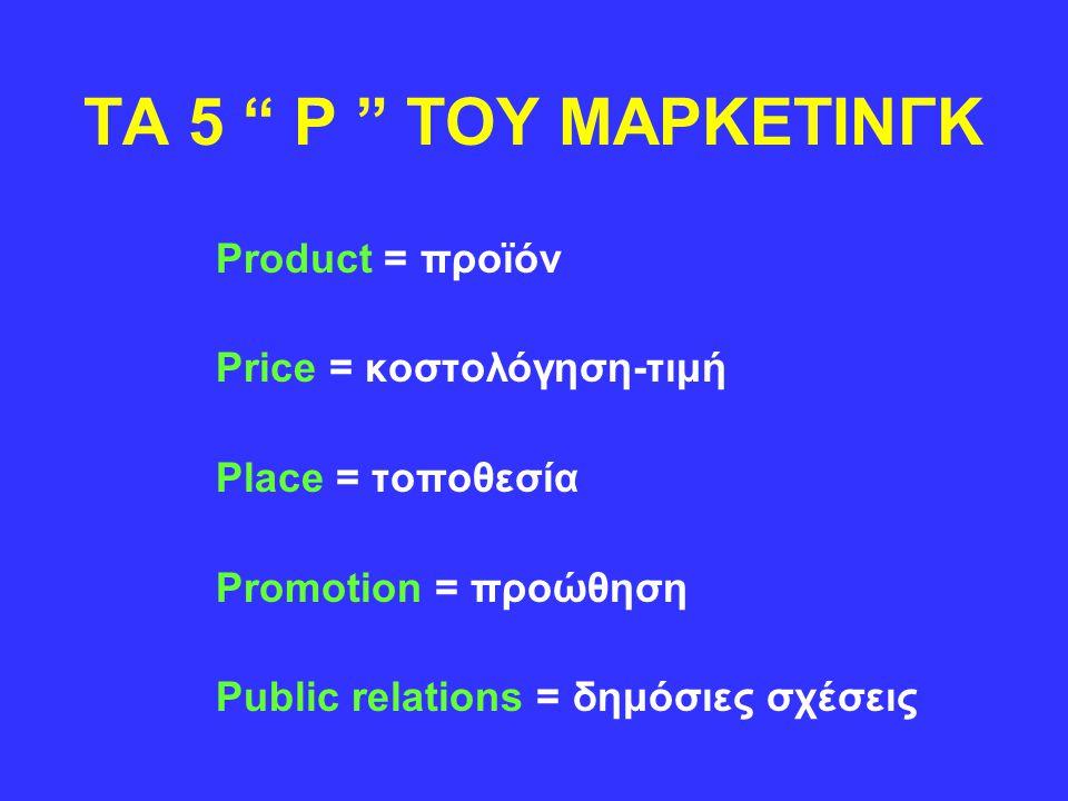 TA 5 P TOY ΜΑΡΚΕΤΙΝΓΚ Product = προϊόν Price = κοστολόγηση-τιμή