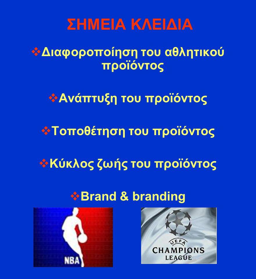 ΣΗΜΕΙΑ ΚΛΕΙΔΙΑ Διαφοροποίηση του αθλητικού προϊόντος