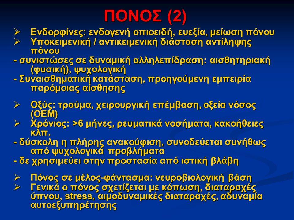 ΠΟΝΟΣ (2) Ενδορφίνες: ενδογενή οπιοειδή, ευεξία, μείωση πόνου