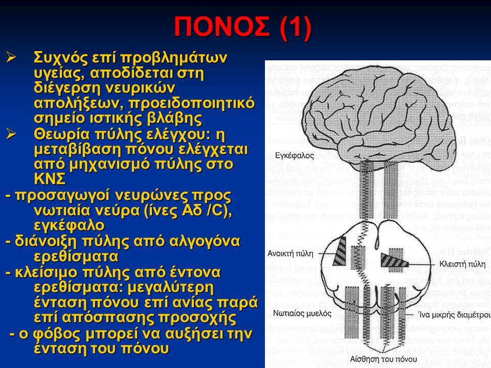 ΠΟΝΟΣ (1) Συχνός επί προβλημάτων υγείας, αποδίδεται στη διέγερση νευρικών απολήξεων, προειδοποιητικό σημείο ιστικής βλάβης.