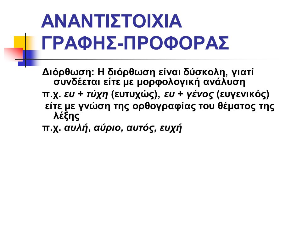 ΑΝΑΝΤΙΣΤΟΙΧΙΑ ΓΡΑΦΗΣ-ΠΡΟΦΟΡΑΣ