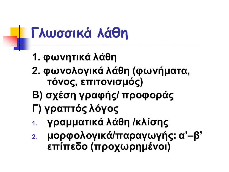 Γλωσσικά λάθη 1. φωνητικά λάθη
