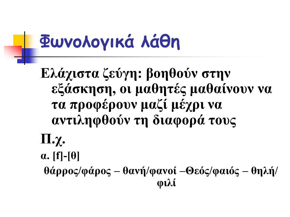 θάρρος/φάρος – θανή/φανοί –Θεός/φαιός – θηλή/ φιλί