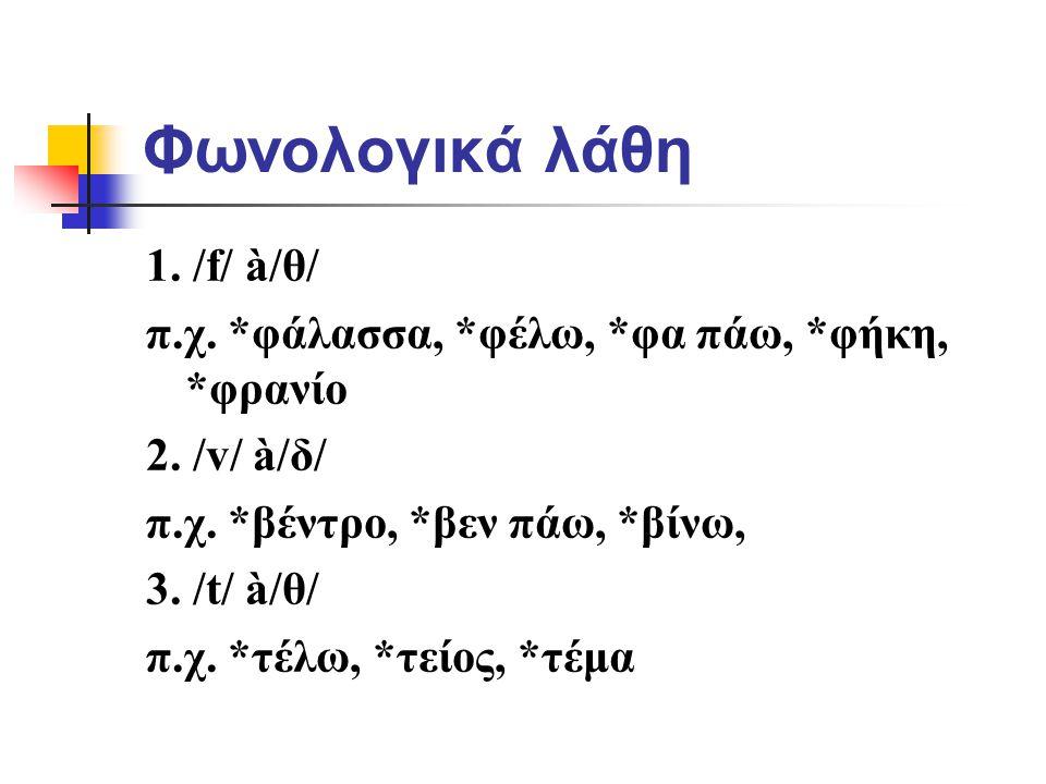 Φωνολογικά λάθη 1. /f/ à/θ/
