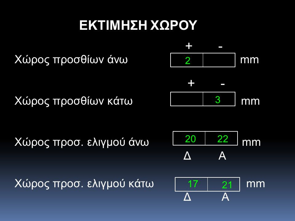 ΕΚΤΙΜΗΣΗ ΧΩΡΟΥ + - + - Χώρος προσθίων άνω mm Χώρος προσθίων κάτω mm