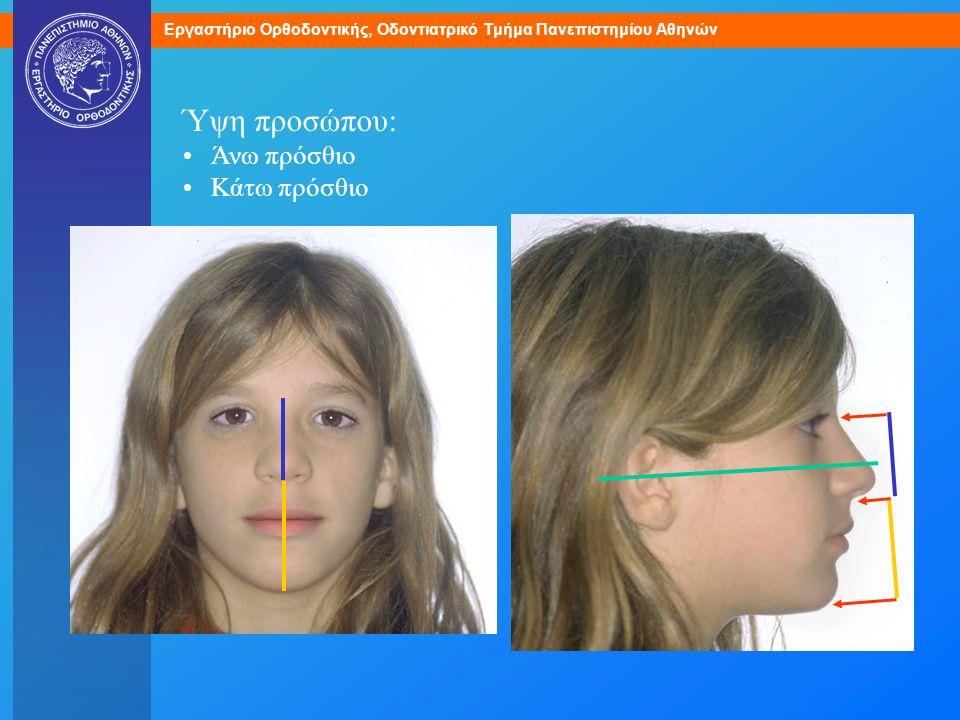 Ύψη προσώπου: Άνω πρόσθιο Κάτω πρόσθιο