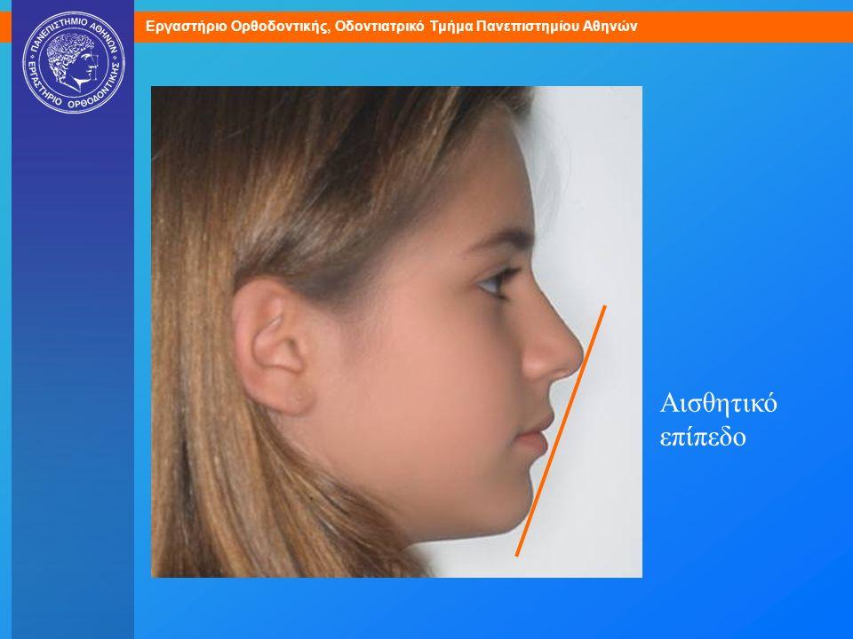 Αισθητικό επίπεδο. Αξιολογήστε την προσθιοπίσθια θέση των χειλέων σε σχέση με το αισθητικό επίπεδο.