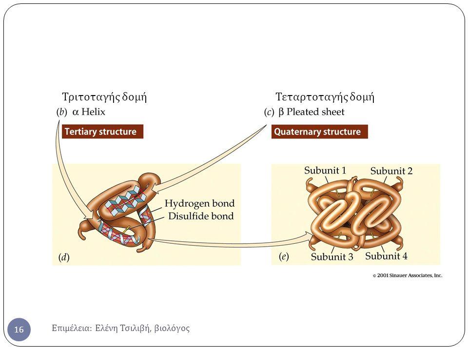 Τριτοταγής δομή Τεταρτοταγής δομή Επιμέλεια: Ελένη Τσιλιβή, βιολόγος