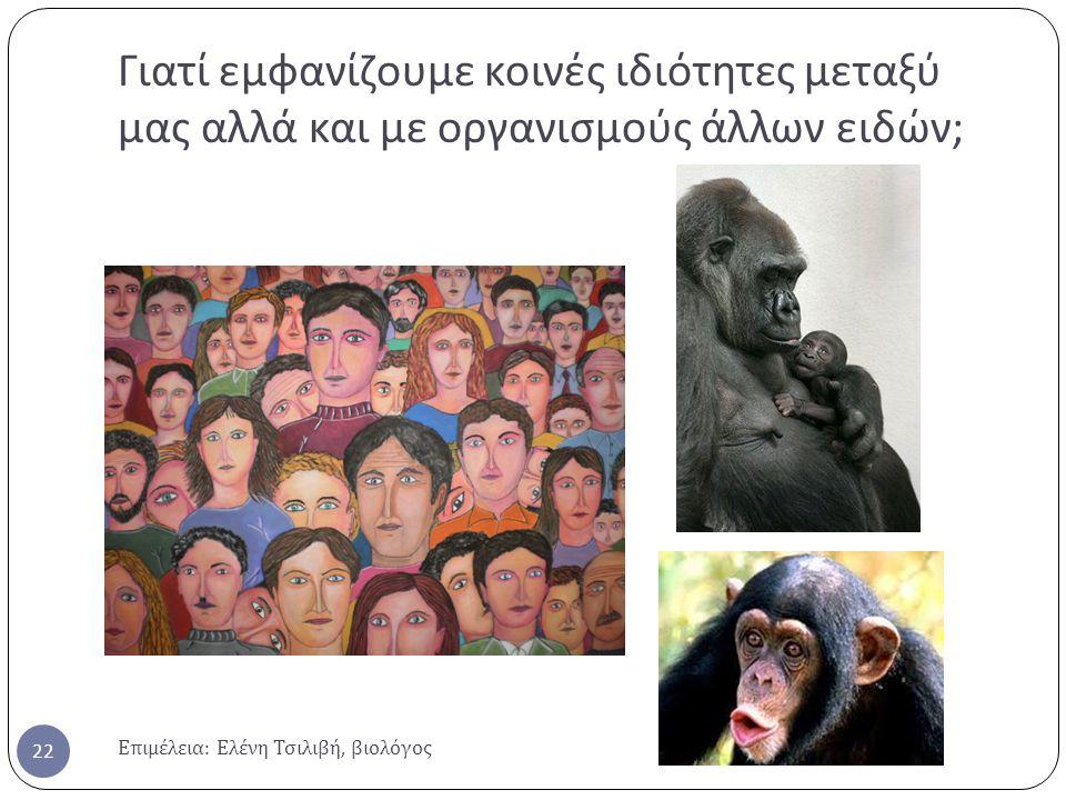 Γιατί εμφανίζουμε κοινές ιδιότητες μεταξύ μας αλλά και με οργανισμούς άλλων ειδών;