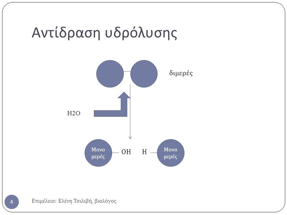 Αντίδραση υδρόλυσης διμερές H2O ΟΗ Η Μονομερές Μονομερές