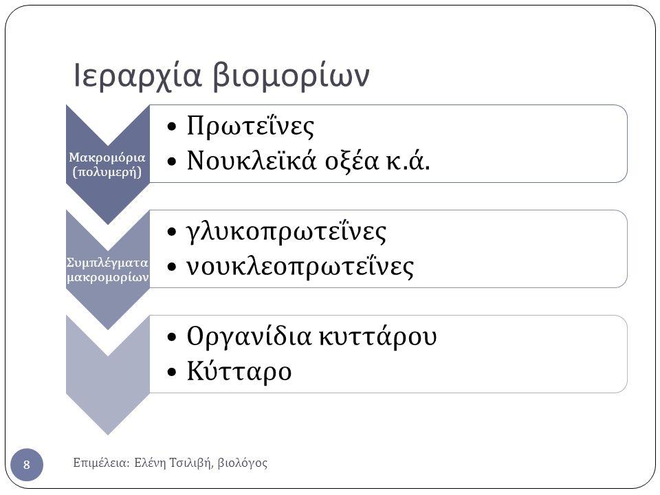 Ιεραρχία βιομορίων Επιμέλεια: Ελένη Τσιλιβή, βιολόγος