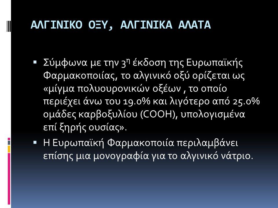 ΑΛΓΙΝΙΚΟ ΟΞΥ, ΑΛΓΙΝΙΚΑ ΑΛΑΤΑ