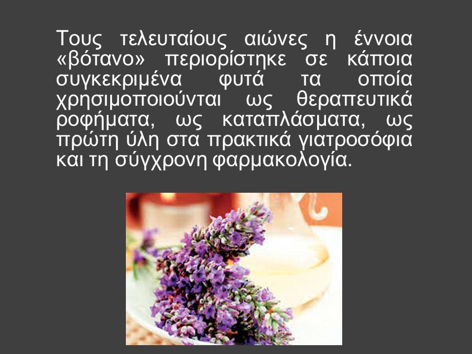 Τους τελευταίους αιώνες η έννοια «βότανο» περιορίστηκε σε κάποια συγκεκριμένα φυτά τα οποία χρησιμοποιούνται ως θεραπευτικά ροφήματα, ως καταπλάσματα, ως πρώτη ύλη στα πρακτικά γιατροσόφια και τη σύγχρονη φαρμακολογία.