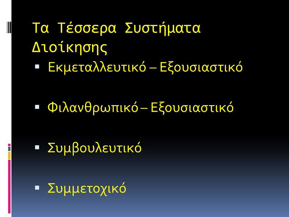 Τα Τέσσερα Συστήματα Διοίκησης