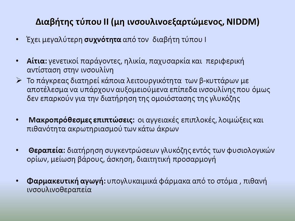 Διαβήτης τύπου ΙΙ (μη ιvσουλιvοεξαρτώμεvος, NIDDM)