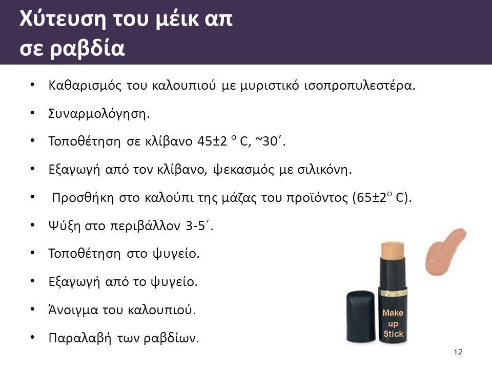 Βιβλιογραφία Εργαστηριακές Ασκήσεις Κοσμητολογίας ΙΙΙ, Ε. Τσιρίβας, Α. Βαρβαρέσου, Αθήνα 2005.