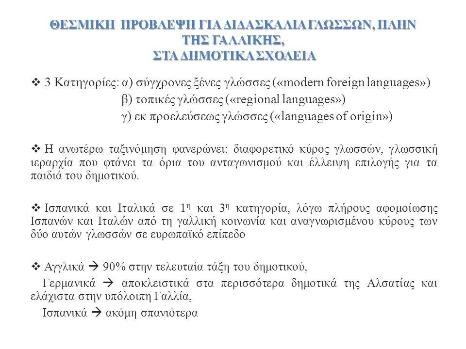 β) τοπικές γλώσσες («regional languages»)