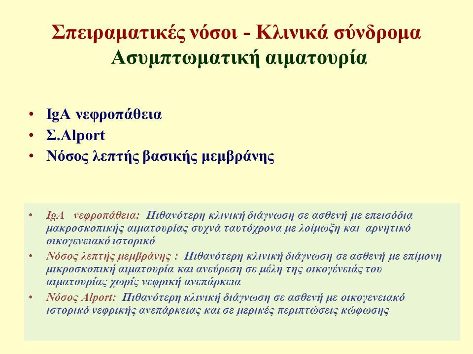 Σπειραματικές νόσοι - Κλινικά σύνδρομα Ασυμπτωματική αιματουρία