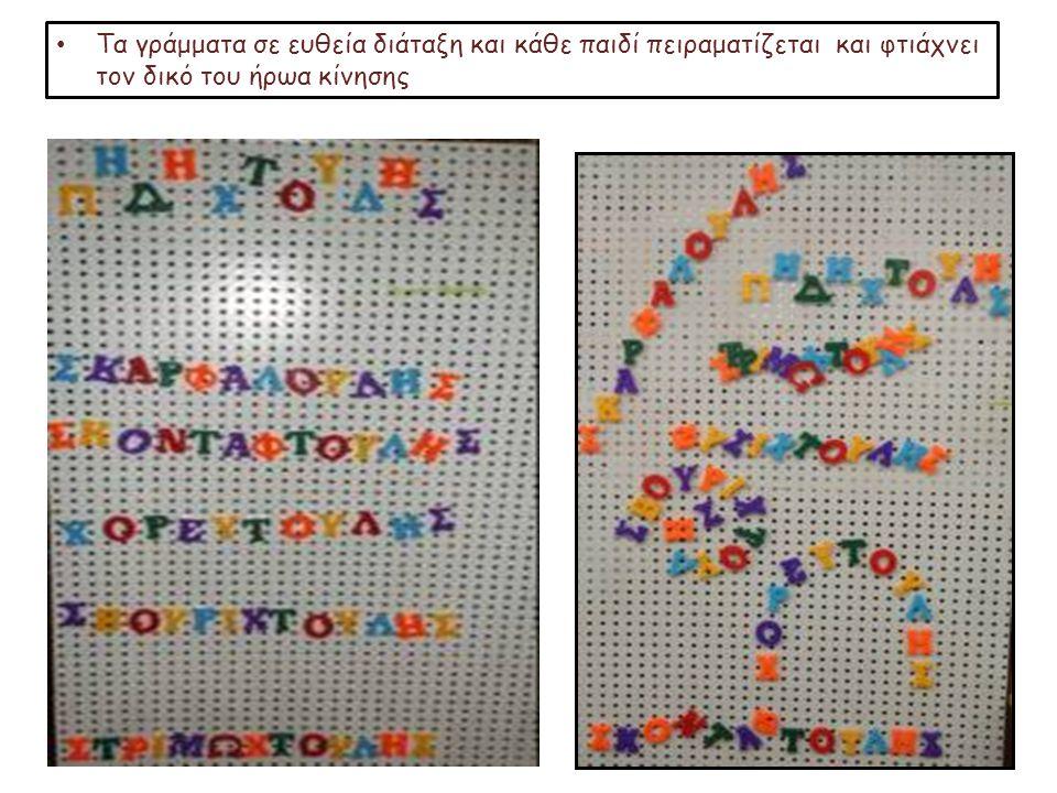 Τα γράμματα σε ευθεία διάταξη και κάθε παιδί πειραματίζεται και φτιάχνει τον δικό του ήρωα κίνησης