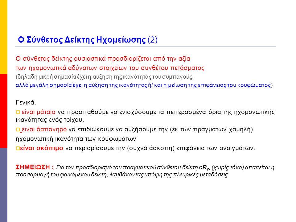 Ο Σύνθετος Δείκτης Ηχομείωσης (2)