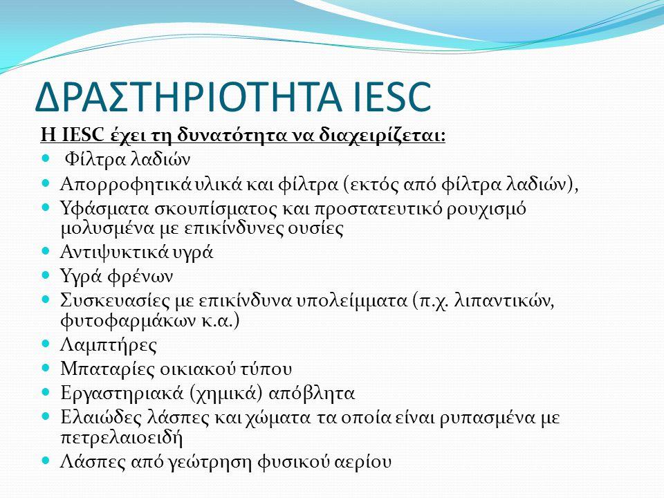 ΔΡΑΣΤΗΡΙΟΤΗΤΑ IESC Η IESC έχει τη δυνατότητα να διαχειρίζεται:
