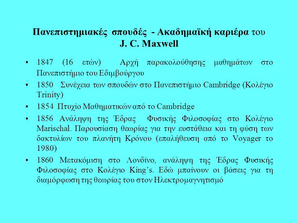 Πανεπιστημιακές σπουδές - Ακαδημαϊκή καριέρα του J. C. Maxwell