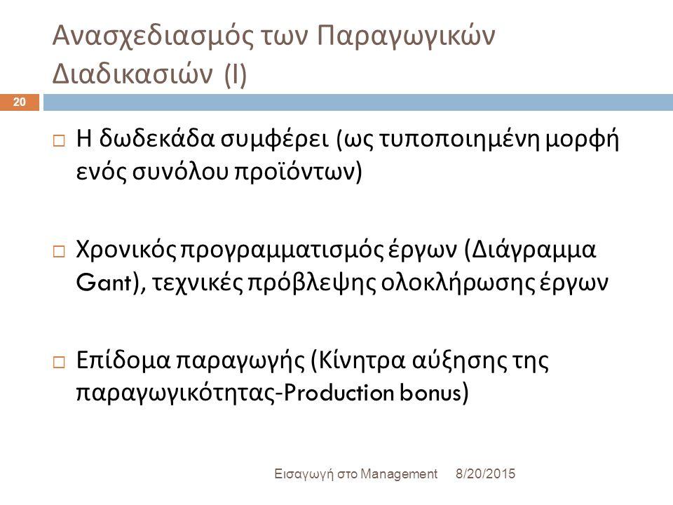 Ανασχεδιασμός των Παραγωγικών Διαδικασιών (I)