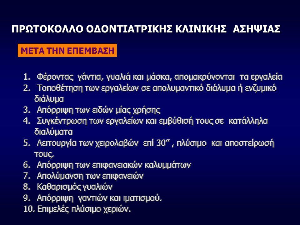 ΠΡΩΤΟΚΟΛΛΟ ΟΔΟΝΤΙΑΤΡΙΚΗΣ ΚΛΙΝΙΚΗΣ ΑΣΗΨΙΑΣ