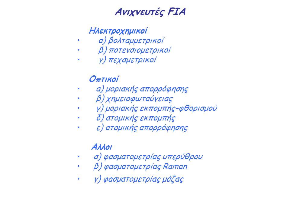 Ανιχνευτές FIA Ηλεκτροχημικοί α) βολταμμετρικοί β) ποτενσιομετρικοί